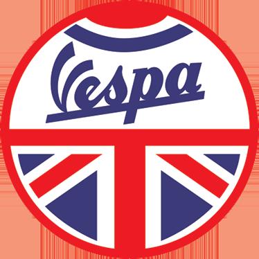 TenVinilo. Adhesivo Vespa Gran Bretaña. Pegatinas moto de una de las marcas de motocicleta más famosas, enmarcada dentro de una redonda con la bandera británica.