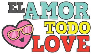 """TenVinilo. Vinilo decorativo amor todo love. Pegatinas divertidas con un juego de palabras en inglés """"el amor todo love (lo ve)"""" acompañado de un emoticono de un corazón con gafas."""