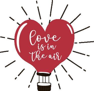 """TenStickers. Vinil amor está no ar. Vinil decorativo com o desenho de um balão de ar com a forma de coração dentro do qual está a frase """"O amor está no ar"""" (aparece love is in the air)."""