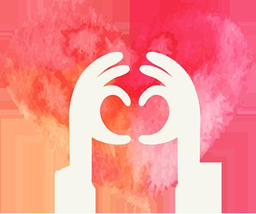 TenStickers. Wandtattoo Herz mit Händen. Süßes Wandtattoo mit einem Herz und zwei Händen die ein Herz formen. Schöne Dekorationsidee für das Wohn- oder Schlafzimmer für alle Verliebten!