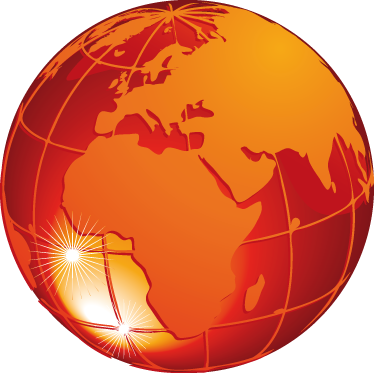 TenStickers. Orange Earth Wall Sticker. Wall Stickers - 3D illusion of a warm red and orange world globe. Distinctive feature in any room, suitable for the home, business or schools.