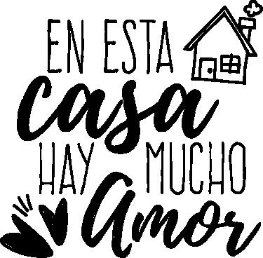 """TenVinilo. Vinilos de amor para casa. Vinilo decorativo con el texto """"En esta casa hay mucho amor"""", un bonito diseño con el que podrás decorar las paredes de tu casa."""