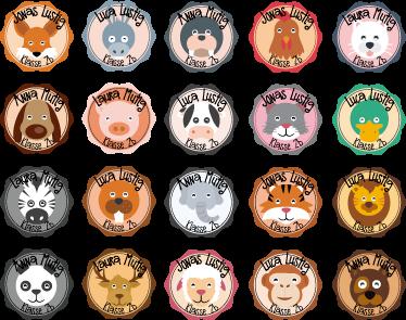 TenStickers. Namensaufkleber Schule Set Tiere. Tolles Set mit Namensetiketten für die Schule oder den Kindergarten zum Besseren Kennenlernen für die Kinder. Spielend Namen lernen!