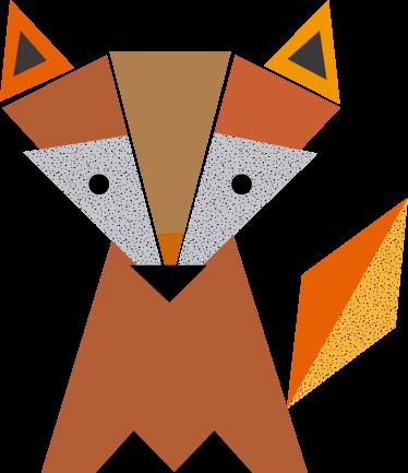 TENSTICKERS. 折り紙キツネ野生動物ステッカー. 幾何学的な形をしたキツネをシンプルかつモダンに表現した幻想的な子供部屋のステッカー。高品質の素材!