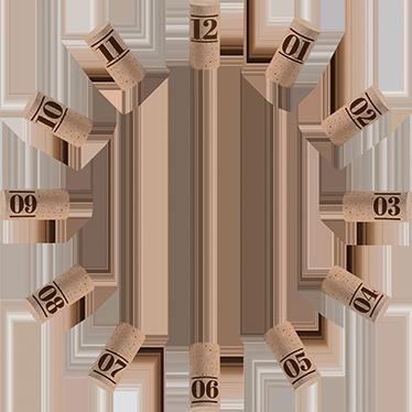 TenVinilo. Vinilo adhesivo reloj pared tapón corcho. Vinilo reloj pared adhesivo para amantes del vino en la que distintos tapones de corcho te mostrarán la hora en todo momento.