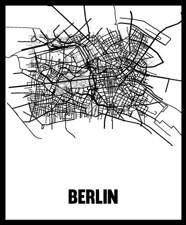 TenStickers. Sticker carte Berlin. Autocollant mural représentant la carte de Berlin. Idéal pour décorer votre salon.