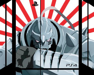 TenVinilo. Pegatina PS4 robot anime. Vinilo para PS4 y controladores formado por el diseño de un robot anime sobre un fondo de rallas diagonales blancas y rojas. Vinilos Personalizados a medida.