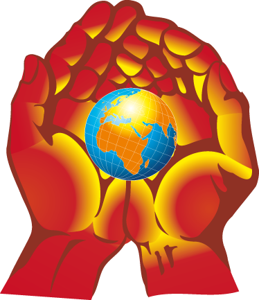 TenStickers. Wandtattoo Welt in den Händen. Gestalten Sie Ihr Zuhause mit diesem Wandtattoo eines Globus, der sanft von 2 Händen umgeben ist und ein leichtes Licht abwirft.