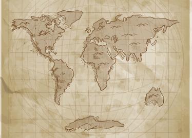 TenStickers. Vinil mapa mundo estilo vintage. Vinil decorativo mapa mundo com um estilo antigo em tons sepia, para apaixonados por viagens ideal para decorar a sala de estar.