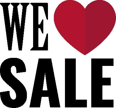 TenStickers. Winkel sticker we love sale. Laat als winkel zien dat u van sales houdt en er ook nu aan meedoet. Uw klanten weten gelijk waar ze moeten zijn door deze leuke etalagesticker.