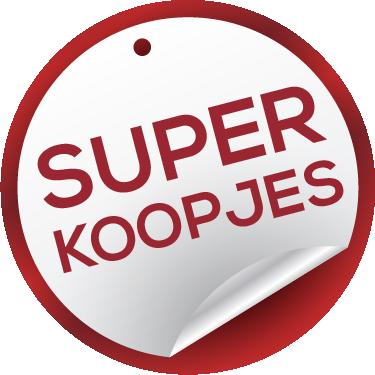 TenStickers. Winkelraam sticker super koopjes. Laat iedereen weten dat er super koopjes bij u binnen zijn. Deze raamsticker is perfect voor het winkelraam van iedere winkel.