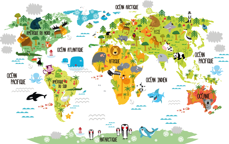 TenStickers. Sticker carte du monde animaux français. Décorez la chambre de votre enfant de façon ludique avec ce sticker carte du monde animaux en français.