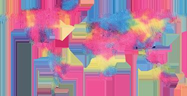 TenVinilo. Vinilo mapamundi tie dye. Espectacular vinilo del mundo con el perfil de los continentes grafiados con una textura colorida de aspecto psicodélico.