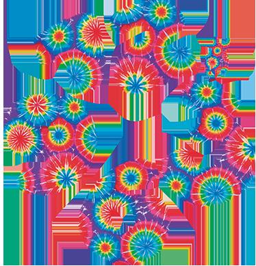 TenVinilo. Vinilo reloj pared  tie dye. Murales de pared de reloj con un llamativo, colorido y moderno diseño de números de aspecto hippie y textura psicodélica.
