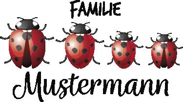 TENSTICKERS. てんとう虫の家族の家のテキスト壁デカール. てんとう虫の昆虫のデザインを使用した自己接着メールボックスデカールで独自のテキストをカスタマイズします。必要なサイズで利用できます。