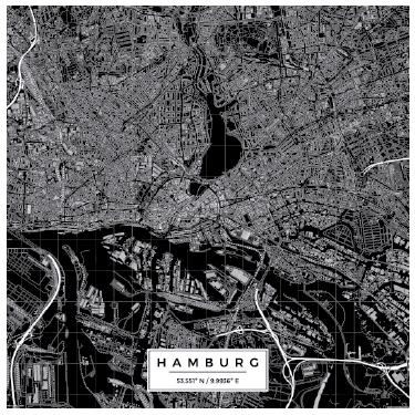 TenStickers. Wandtattoo Karte Hamburg. Tolles Wandtattoo im Kartographie Stil mit einer detaillierten Stadtkarte von Hamburg in schwarz weiß. Schlicht und schön.