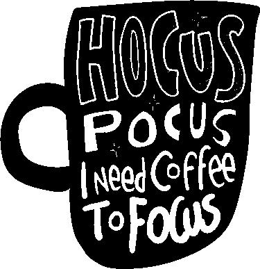 """TenStickers. Drank stickers Hocus pocus koffie om te focussen. Grappige tekststicker """"hocus pocus ik heb koffie nodig om me te concentreren"""" die de echte behoefte van koffie in het leven uitdrukt. Perfect voor keuken of coffeeshop!"""