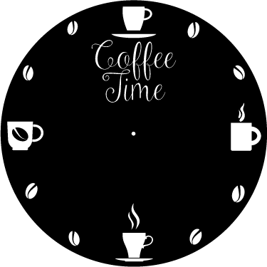 TenStickers. Orologio adesivo con Tazze da caffè. Coffee time orologio adesivo per segnare sempre l'ora del tuo caffè in modo elegante.  I nostri prodotti sono di alta qualità vinilica.