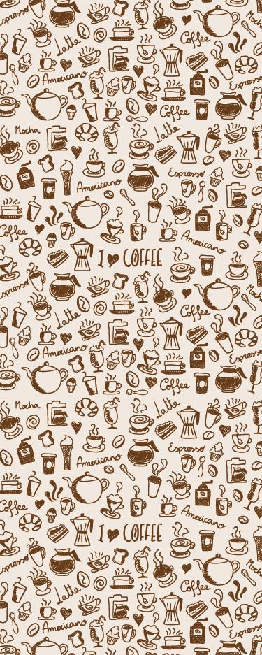 TenVinilo. Vinilo para puerta cocina café. Pegatina para puerta formada por varios elementos relacionados con el café, colocados sobre un fondo de color crema. Descuentos para nuevos usuarios.