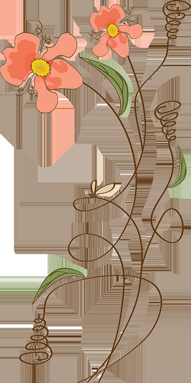 TenVinilo. Vinilo infantil flores. Murales y vinilos con un elegante diseño floral, ideal para darle frescura y color a las paredes del cuarto de los más jóvenes de casa.