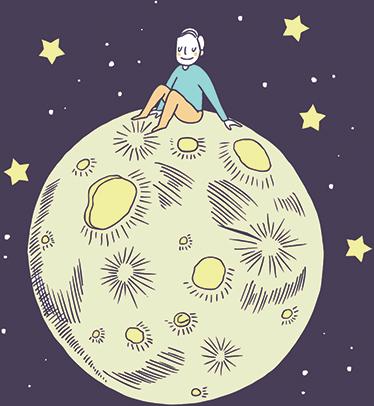 TenVinilo. Vinilos para habitaciones infantiles luna. Vinilos infantiles con los que harás volar la imaginación de los más pequeños con  una ilustración inspirada en el cuento del Principito.