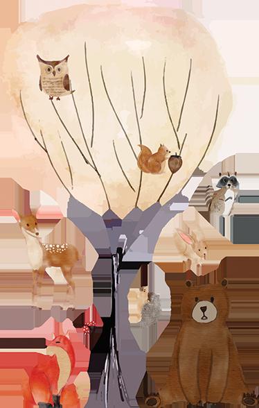 TenStickers. Naklejka dla dzieci drzewo i leśne zwierzątka. Idealna naklejka na ścianę dla dzieci, przedstawiająca leśne zwierzątka, takie jak niedźwiedź czy lis, siedzące pod drzewem. Dekoracja utrzymana jest w jesiennych barwach, idealna aby odmienić pokój dziecka na jesień! Codziennie nowe projekty naklejek!