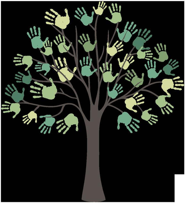 TenStickers. Vinil decorativo árvore com mãos. Preencha a sua parede com este vinil decorativo com um desenho infantil de uma árvore com mãos em formato de ramos em tons de verde.