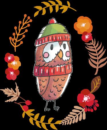 Tenstickers. Lasten sisustustarra pöllö. Lasten sisustustarra pöllö. Suloinen syksyinen pöllö seinätarra, jossa on pöllö, jonka ympärillä on syksyisiä lehtiä ja kukkia.