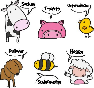 TenStickers. Schubladenaufkleber Tiere. Süße Aufkleber für die Schublade mit verschiedenen Tiermotive, die angeben welches Kleidungsstück sich in der Schublade befindet.