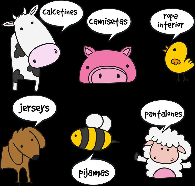 TenVinilo. Vinilo para cajones animales divertidos. Vinilos para muebles infantiles con el dibujo de diferentes animales y tipos de ropa, ideal para ayudar a ordenar a los más pequeños de casa.