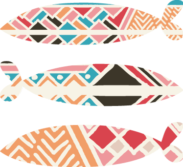 TenVinilo. Vinilo para salón sardinas. Original pack formado por tres pegatinas adhesivas de peces con unos estampados geométricos muy coloridos. Atención al Cliente Personalizada.