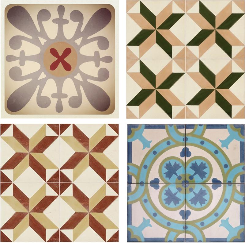 TenVinilo. Azulejos adhesivos mosaico hidráulico varios. Vinilos para baldosas de cocina con una recreación de dibujos geométricos de estilo retro ideales para redecorar también tu baño.