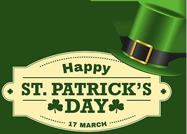 TENSTICKERS. 聖パトリックの日壁デカール. 帽子とテキストが描かれた聖パトリックの日のおもてなしのウォールステッカー。ニーズに合わせてカスタマイズできます。適用は簡単です。