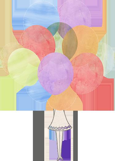 TenVinilo. Vinilos infantiles niña detrás de globos. Vinilos decorativos infantiles que representan a una niña oculta entre decenas de globos de colores.
