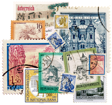 TenStickers. Collage stamps Austria wall decal. Collage stamps Austria wall sticker with travel destination images. It is easy to apply and available in different sizes.