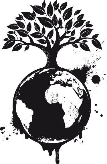 TenStickers. Autocolante decorativo árvore ecológica. Autocolante decorativo ilustrando uma árvore plantada no planeta Terra, um dos símbolos ecológicos mais importantes!