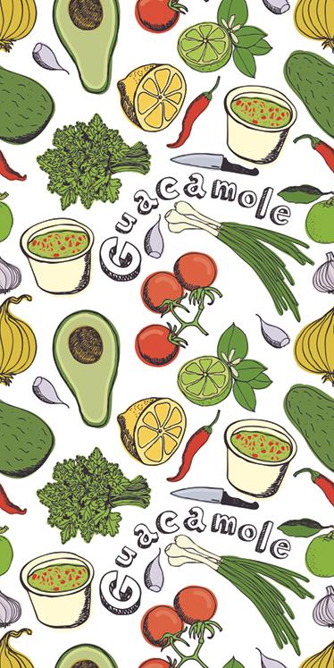 TenVinilo. Vinilo decorativo cocina frutas mexicanas. Vinilo nevera con una textura de distintos alimentos, ingredientes para realizar un típico guacamole mexicano.