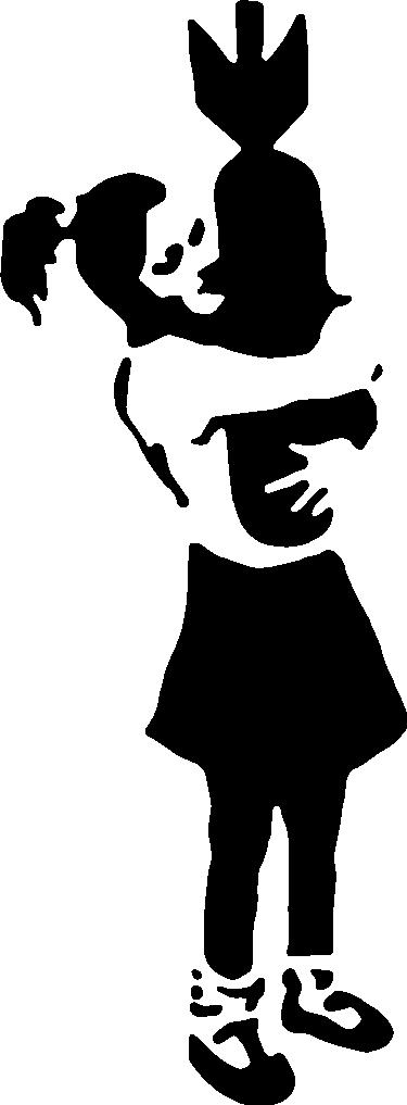 TENSTICKERS. バンクシーハグボムビニールウォールアートデカール. 爆弾を抱き締める少女が登場する、バンクシーアートにインスパイアされたアーバンウォールアートデカールです。必要なサイズで、さまざまなカラーオプションを用意しています。