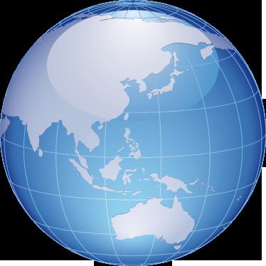 TenStickers. Sticker decorativo globo Asia e Australia. Adesivo murale che raffigura il globo terrestre dalla parte dove si trovano il continente asiatico e quello dell'Oceania.