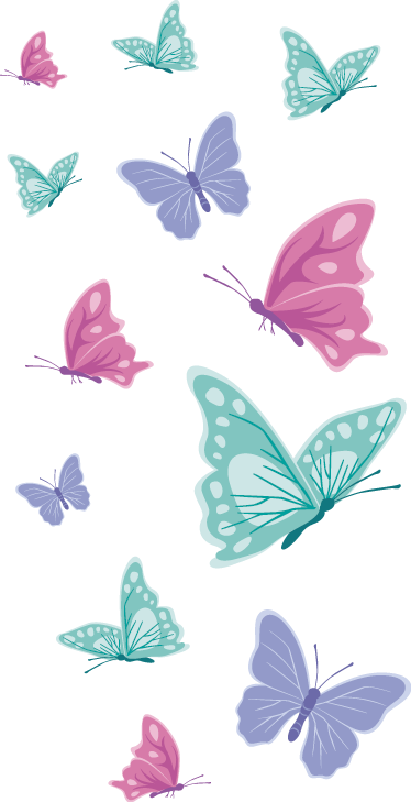 TenStickers. pastel butterflies butterfly sticker. Decorate the bedroom space of a kid with this original butterflies print decal made in colorful style. We have it in any size needed.