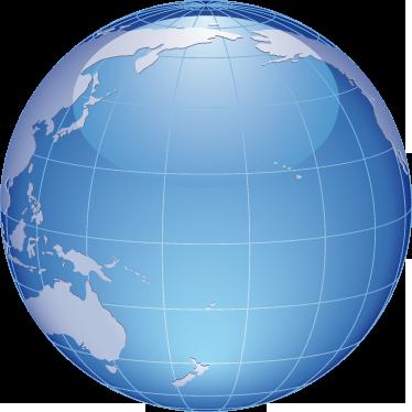 TenStickers. Sticker decorativo globo oceano Pacifico. Adesivo murale che raffigura la sfera terrestre con una veduta sull'oceano Pacifico. Ideale per decorare lo studio o la camera da letto.