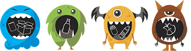 TenStickers. Mixed Recycling Bin Stickers. The perfect recycling bin stickers for your recycling needs. Perfect to encourage kids to recycle as the recycle stickers include playful monsters.
