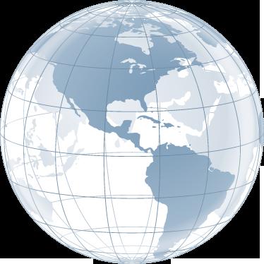 TenStickers. Sticker decorativo globo trasparente Americhe. Illustrazione traslucida della sfera terrestre rivolta dalla parte del continente americano. Un adesivo ideale per decorare lo studio o la camera da letto.