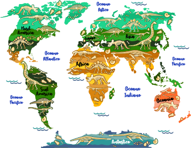 TenStickers. Dinosaur map IT educational sticker. Dinosaur world map educational wall sticker for children bedroom space decoration. It is available in any required size and it application is easy.