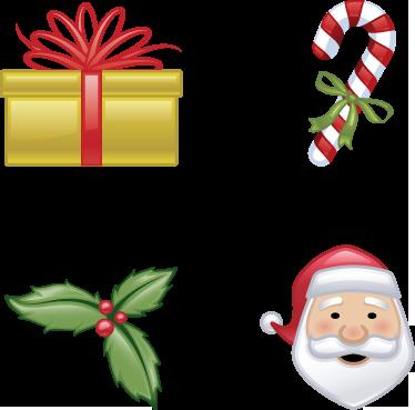 TenStickers. Sticker kit dessins Noël. Ensemble de stickers faisant référence à Noël : houx, sucre d'orge, cadeau et le Père Noël.