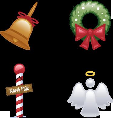 TenStickers. Sticker kerst bell crown angel noordpool. Noordpool sticker met allemaal kenmerkende attributen voor kerst! Leuke manier om jouw huis echt een kerstgevoel te geven tijdens de feestdagen!
