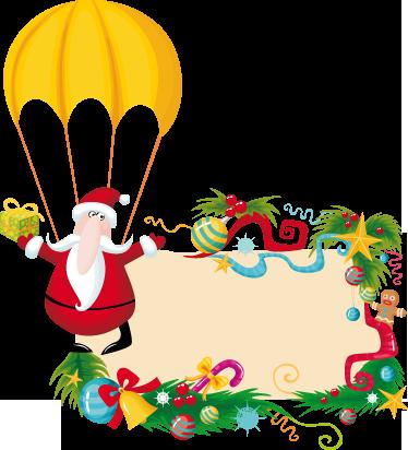 TenStickers. Kertman parachute sticker. Decoratieve sticker met een kerstman aan een parachute! Leuke kerststicker dat je zelf kunt personaliseren met jou eigen leuke tekst!