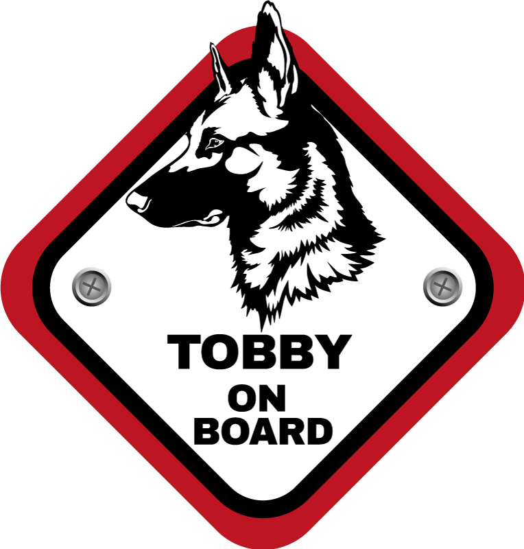TenStickers. Autosticker herder on board personaliseerbaar. Plaatse deze personaliseerbare autosticker met herdershond op de auto De hond on board sticker is te personaliserenmet de naam van je hond.