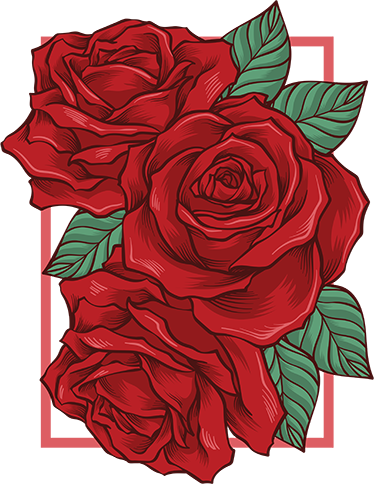TenStickers. Frame red roses flower wall decal. Rose flower wall art sticker designed on a frame background surface. It is decorative for home, office and business space.