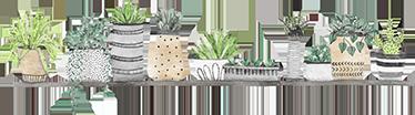 TenStickers. Naklejka na ścianę półka z doniczkami. Naklejka ścienna przedstawiająca półkę z doniczkami i wazonami, wypełnionymi różnymi roślinami. Ta oryginalna naklejka całkowicie odmieni wnętrze każdego pomieszczenia w Twoim domu! Wyprzedaż się kończy – nie czekaj, zamów taniej teraz!